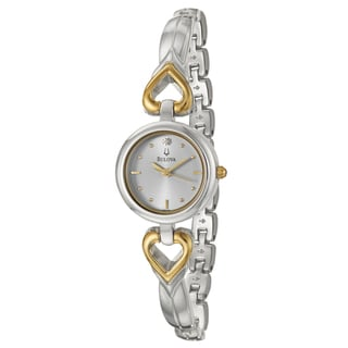 Bulova Women's 'Diamonds' Stainless Steel Goldtone Hearts Watch