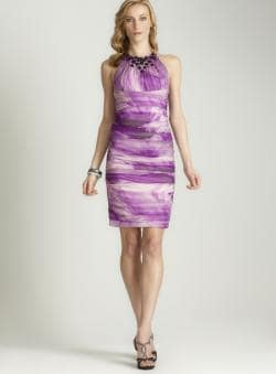 Carmen Marc Valvo Women's Purple Ruched Cocktail Dress