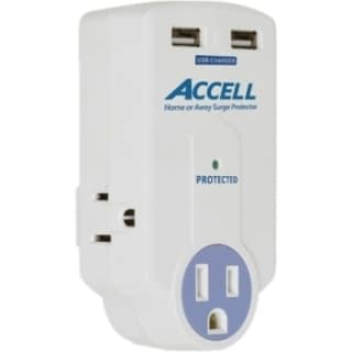 Accell Travel Surge Protector with Dual USB Charging 10456861
