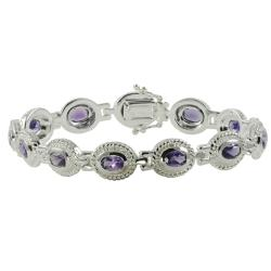 Gems For You Silver Amethyst Link Bracelet 8262857