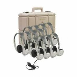 Califone 3060AVS-12 Multimedia Stereo Headphones with Silver Cases (Pack of 12)