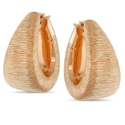 18k Pink Gold Brushed Large Hoop Earrings