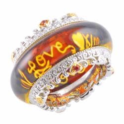 Michael Valitutti Two-tone Pressed Carved Amber and Orange Sapphire Ring