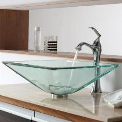 KRAUS Square Glass Vessel Sink in Clear with Ventus Faucet in Chrome 8335470