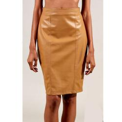 Tabeez Women's Tan Leather Pencil Skirt
