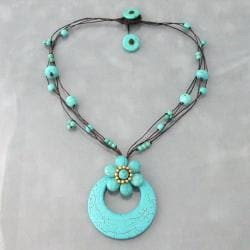 Reconstructed Turquoise Flower Rope Necklace (Thailand)