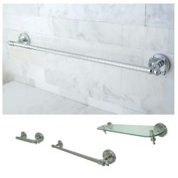 Chrome 3-piece Shelf and Towel Bar Bathroom Accessory Set