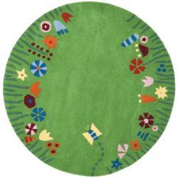 Safavieh Handmade Children's Summer Grass Green N. Z. Wool Rug (4' Round)