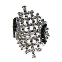 Adee Waiss White and Black Cubic Zirconia Net Ring