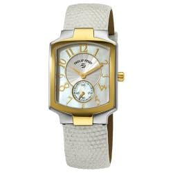 Philip Stein Women's Classic White Strap Two Tone Watch