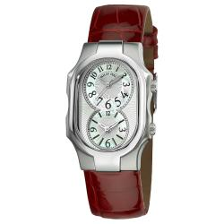 Philip Stein Women's 'Signature' Red Leather Strap Dual Time Watch