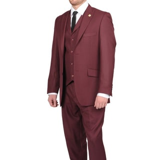 Stacy Adams Men&#39;s Burgundy Two-button Vested Suit