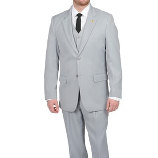 Stacy Adams Men&#39;s Silver Two-button Vested Suit
