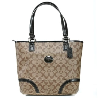 Coach 'Peyton' Khaki Signature Printed Tote Bag