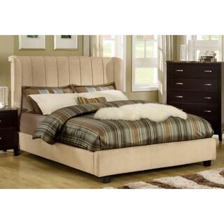Luxi Beige Velvet Platform Queen Bed