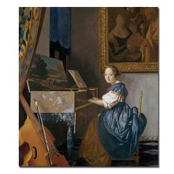 Jan Vermeer 'A Young Lady Seated at the Virginal' Canvas Art