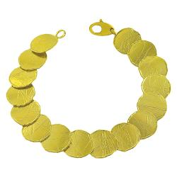 Fremada 14k Yellow Gold Satin Disc Bracelet