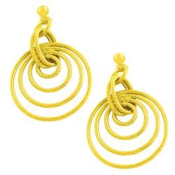 Fremada 14k Yellow Gold Braided Graduated Loops Dangle Earrings