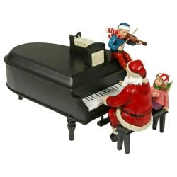 Pianoman Santa Red and Black Musical Figurine