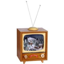 Holiday Retro TV Music Box Figurine