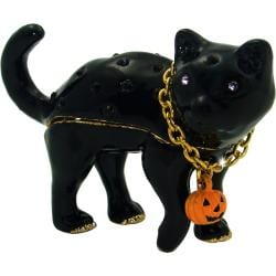 Objet d'art 'Superstition' Halloween Black Cat Trinket Box