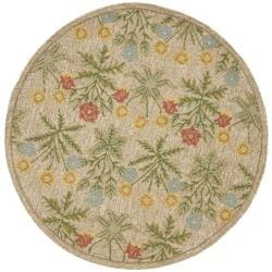 Safavieh Handmade Blossom Beige Wool Rug (6' Round)