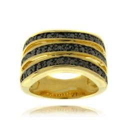 Fusion 14k Gold Overlay Black Diamond Accent 3-band Stack Ring Black Diamond Band Ring Yellow Gold