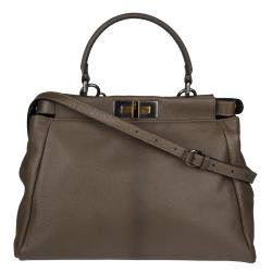 Fendi 'Peek-A-Boo' Small Olive Green Satchel Handbag