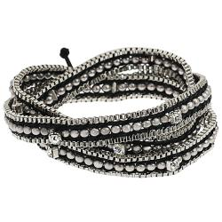Silvertone Rhinestone Beaded Box Chain Wrap-around Bracelet