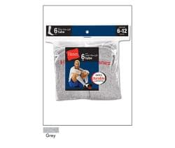 Hanes Men's Grey Crew Socks (Pack of 6)