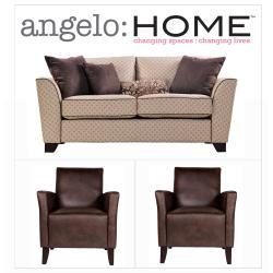 angelo:HOME Crawford Espresso Art Deco 3-piece Sofa Collection