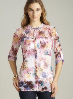 Romeo & Juliet Couture Sheer Floral Print Blouse
