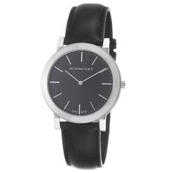 Burberry Men's 'Slim' Black Dial Black Leather Strap Quartz Watch