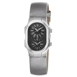 Philip Stein Women's 'Signature' Black Dial Platinum Silk Strap Watch