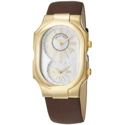 Philip Stein Women's 'Signature' Goldtone Brown Leather Strap Watch