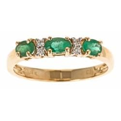 D'Yach 14k Yellow Gold Zambian Emerald and Diamond Accent Ring