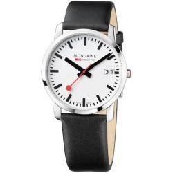 Mondaine Women's 'Evo Big Date' Stainless Steel Black Leather Watch