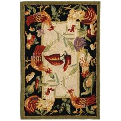 Safavieh Hand-hooked Roosters Ivory/ Black Wool Rug (1'8 x 2'6)