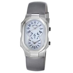 Philip Stein Women's 2-NFMOP-IPL 'Signature' Platinum Silk Strap Dual Time Watch