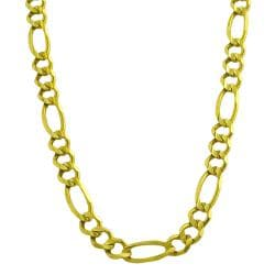 Fremada 14k Yellow Gold Men's Solid 6.8-mm Figaro Link Necklace