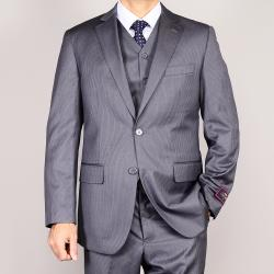 Carlo Lusso Striped Gray 2-Button Vested 3-piece Suit