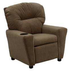 Contemporary Brown Microfiber Kids Recliner with Cup Holder 9089891