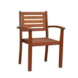 Brown Eucalyptus Stacking Arm Chair