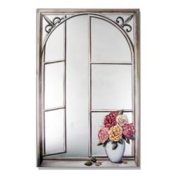 Faux Window Mirror Scen3 with Wrought Iron and Cabbage Rose