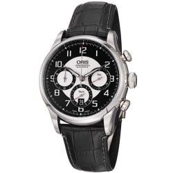 Oris Men's 'Raid 2011 Chronograph' Black Leather Strap Automatic Watch