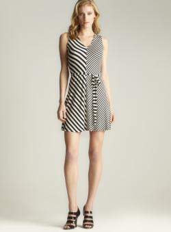 Calvin Klein V-neck Striped Belted Dress