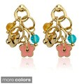 Little Miss Twin Stars Goldplated Children's Enamel and Crystal Earrings