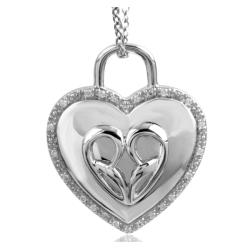 Bridal Symphony Sterling Silver 1/10ct TDW Diamond Heart Padlock Necklace