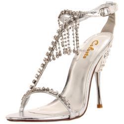 Celeste Women's 'Patricia-05' Silver Crystal-draped T-strap Heels