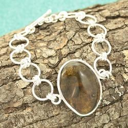 Sterling Silver Honey Baltic Amber Link Bracelet (Lithuania) Amber Silver Bracelet